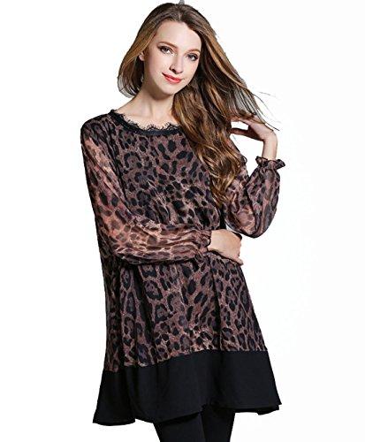 YALI Couleur léopard grande robe Taille XXXL Café léopard