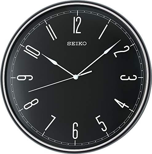 Seiko Wanduhr schwarz Kunststoff Schleichende Sekunde QXA755K