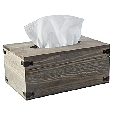 MyGift Distressed Wood Tissue Box Holder with Hinged Lid