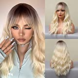 Long Curly Hair Wig for Women Ombre Light Blonde Hair Wig With Bang HAIRCUBE Natural Hair Wigs……