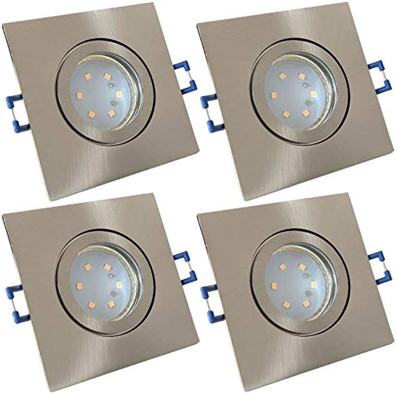 4 Stück IP44 SMD LED Bad Einbaufassung Aqua 12 Volt 3 Watt Eckig Farbe Eisen geb. Lichtfarbe Neutralwei