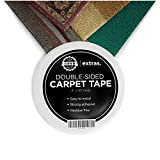 Heavy Duty Rug Tape (Double Sided) - Keep Area Rugs in Place, Residue Free Double Sided Carpet Tape, (2'x25Yards) Rug Gripper Tape, Rug Tape for Hardwood Floors and Carpets, Strong Double Sided Tape