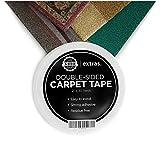 Cinta adhesiva de doble cara para alfombras. Mantiene tus alfombras, alfombrillas y felpudos en su lugar. Cinta altamente resistente para uso en interiores y exteriores. Rollo de 5cm x 23m