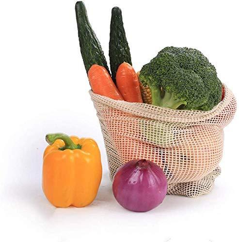Allamp Conjunto de Vegetales de algodón, Bolsas de 10 Inicio Cocina for Guardar Bolsas de Malla con cordón, Lavable y Reutilizable, adecuados for hortalizas y Frutas 20 * 28cm