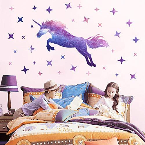 Adesivi Murali Unicorno,Adesivo Unicorno Stickers Muro, Adesivi Murali Bambini di Unicorni per Camera da Letto Adesivi Murali Cameretta dei Bambini Decorazione Murale Soggiorno, 61x 25cm