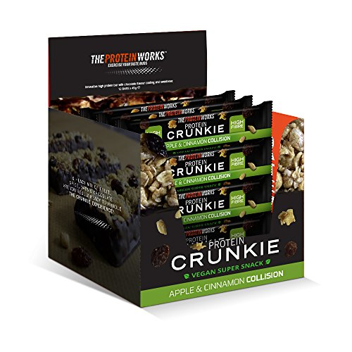 THE PROTEIN WORKS Vegan Crunkies Protein Bars | 100% Plant Based Snack | Energy Source | High Fibre | Apple & Cinnamon Collision | Box of 12
