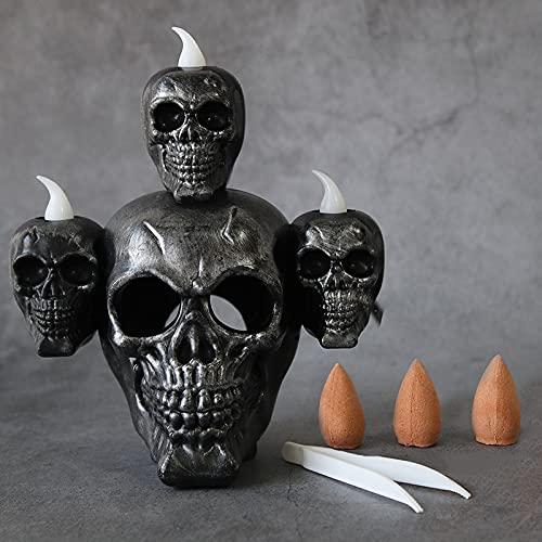 ZJJX Lámpara de calavera de horror con luces LED, quemador de incienso, decoración para Halloween, decoración para el hogar, salón o dormitorio