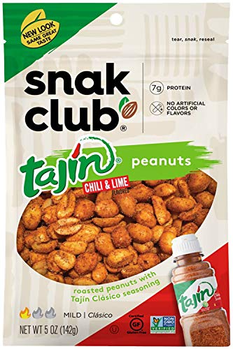 Snak Club Tajin Peanuts, 5oz Bags (Pack of 6)