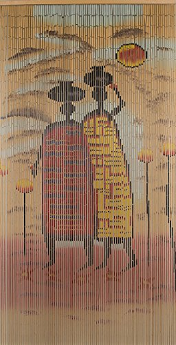 Beaded String Natural Bamboo Wood Beaded Curtain-90 Strands-78 (6.5 ft) High-Boho Door Beads-Bohemian Doorway Curtain-Village