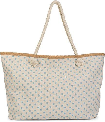 styleBREAKER XXL Strandtasche mit kleinem Sterne Muster, Stern Print und Reißverschluss, Schultertasche, Shopper, Damen 02012231, Farbe:Beige-Hellblau