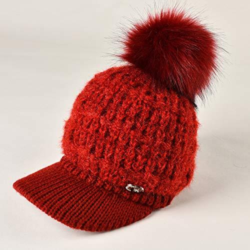 mlpnko Hut weiblich Plus Samt Dicke warme einfarbige Ohrenschützer Mütze Strickpullover Mütze Baskenmütze rot verstellbar