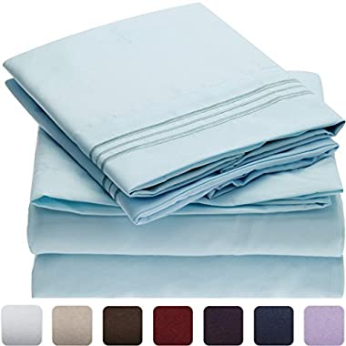Mellanni Bed Sheet Set - Brushed Microfiber 1800 Bedding - Wrinkle, Fade, Stain Resistant - Hypoallergenic - 4 Piece (King, Baby Blue)