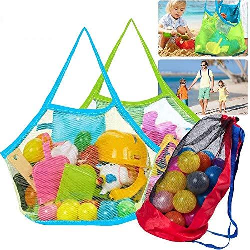 Tacobear Netz Strandtasche Sandspielzeug Tasche Groß Aufbewahrung Netztasche für Strandspielzeug Mesh Beach Bag für Kinder Familie Urlaub (2 Tragetasche&1 Rucksack)
