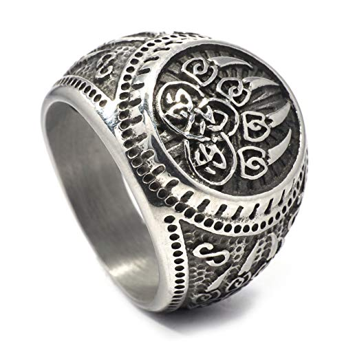 Gungneer Celtic Bear Paw Viking Berserker Spirit Mens Stainless Steel Ring Men Women Norse Protection Jewelry