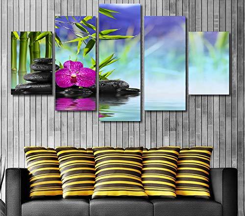 HD Gedrukt stenen bamboe bloem Schilderen Doek room decor print poster foto canvas/ny-