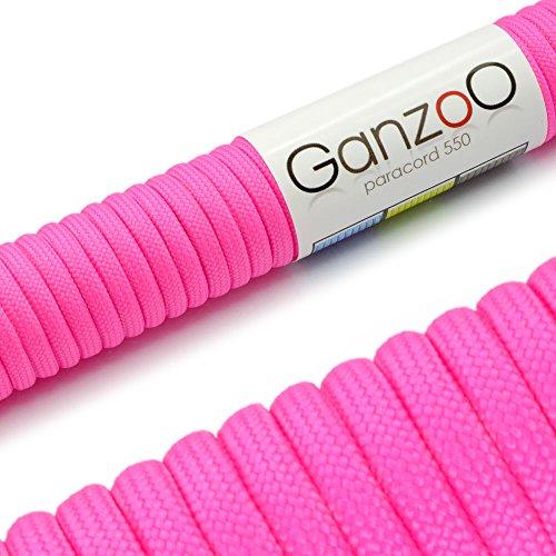 Paracord 550 touw neon-magenta, roze, roze, | 31 meter nylon touw met 7 kernstrengen | voor armband | knopen van hondenlijn of hondenhalsband om zelf te maken | touw met 4 mm dikte | multifunctioneel touw | survivaltouw | parachutekoord belastbaar tot 250 kg (550 lbs) - merk Gooanzet .