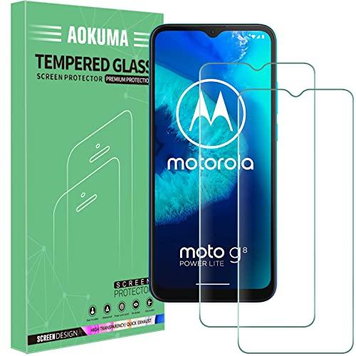 AOKUMA für Motorola Moto G8 Power Lite/Moto G9 play Panzerglas, 【2 Stücke】Glas kompatibel mit Moto G8 Power Lite/Moto G9 play Schutzfolie, Premium Glasfolie mit 9H Festigkeit, Anti Kratzer, Splitterfest
