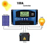 MPPT Solar Charge Controller, 40A/50A/100A 12V-24V Auto Focus Tracking - Solar Panel Regulator Charge Controller withThunder Protection and Perfect SOC Function (100A, Blue)
