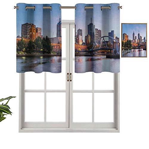 Hiiiman Cortinas cortas opacas con ojales en Melbourne, Australia famosa Yarra River Scenic, juego de 2, 137 x 91 cm, cenefas pequeñas de media ventana para cocina