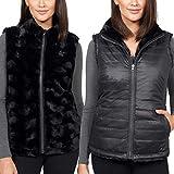 Nicolle Miller Women's Vest Black Reversible Faux Fur (Black, Small)