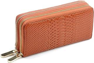 GUMAOPAJIAAAqb Monederos de Mujer, Women's Long Wallet Genuine Leather Double Zipper Serpentine Embossing Female Clutch Ba...