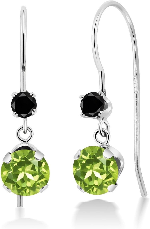 1.33 Ct Round Green Peridot Black Diamond 14K White gold Earrings