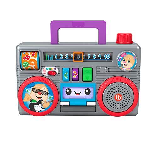 Fisher-Price Ríe y Aprende Radiocasete de juguete con sonidos, regalo para bebés +6 meses (Mattel GYB98)