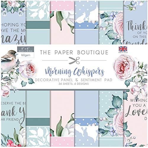 The Paper Boutique Morning Whispers Collection-Panels & Sentiments Pad, Gemengde Pastel, 8 x 8