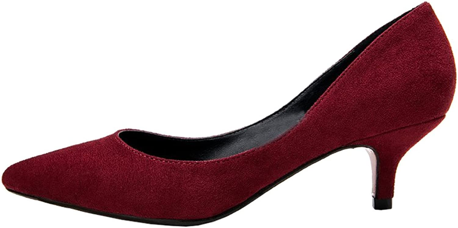 Calaier Womens Caoffice Pointed Toe 3CM Stiletto Slip on Pumps shoes