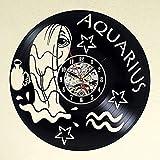 TJIAXU Reloj de Pared con Disco de Vinilo Relojes de Estilo Escorpio de Acuario para Sala de Estar Reloj Colgante de CD Vintage silencioso