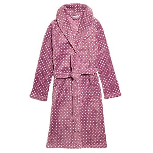 Adelina ochtendjas dames lang kasjmier pyjama coral soft ademend klassiek modieus compleet borduurwerk badjas sjaal kraag spa