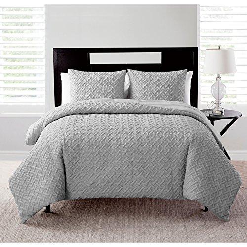 VCNY Home Nina Textured Geometric Pattern 3 Piece Comforter Set, King, Grey
