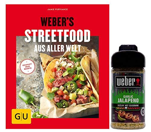 Weber's Streetfood aus Aller Welt (GU Weber´s Grillen) heiss auf Neues vom Grill + 1Weber Knoblauch Jalapeno Grillgewürzmischung, 164 g