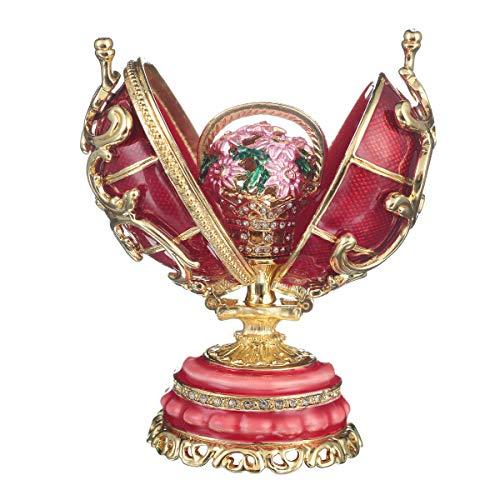 uovo russo in stile Fabergé Fiori di primavera con cesto di fiori 8,5 cm rosso