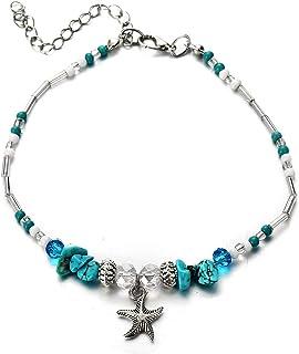 Bracelet de yoga turquoise avec pendentif étoile de mer et perle vintage