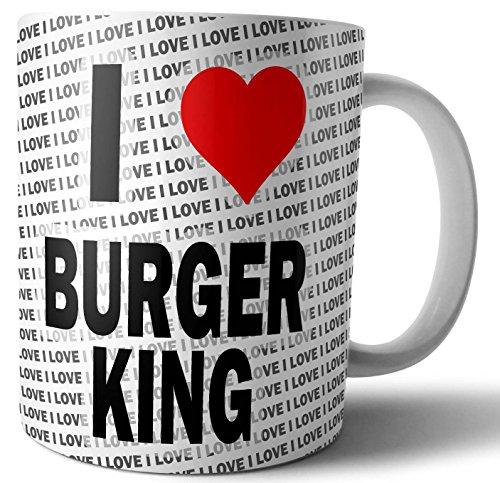 """Taza con texto en inglés""""I Love Burger King"""""""