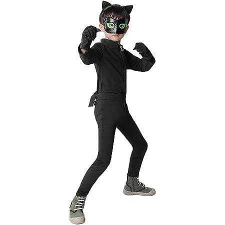 Disfraz de Cat Noir Niños, Máscara Diadema Manga Larga Monos Actuación Cumpleaños Halloween Carnaval Navidad Regalo Cosplay