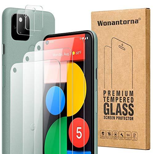 Wonantorna Kompatibel mit Google Pixel 5 Panzerglas Schutzfolie, 3 Stück Schutzfolie +2 Stück Kamera Panzerglasfolie, [9H-Härte] [Keine Blasen] Displayschutzfolie Kompatibel mit Google Pixel 5