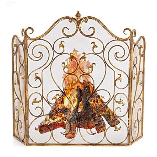 Funkenschutzgitter 3 Panel Gold-Kamin-Schirm mit Ineinander greifen-Abdeckung, Baby Safe Feuerschutz Funkenschutz für Open Fire/Gas Fires/Log Holzofen, Hoch 36inch (Color : Gold)