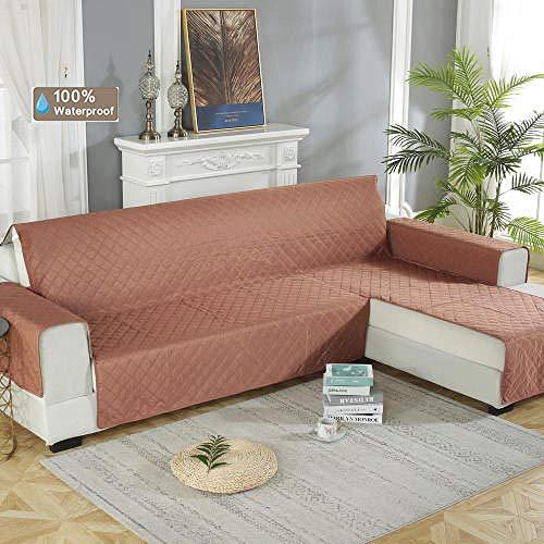 Protector sofás,Escudo de sofá seccional para mascotas,cubierta protectora 100% impermeable para combinación de sofá,cojines de sofá chaise izquierda/derecha-Red_Brown_Right_chaise_longue200 * 270cm