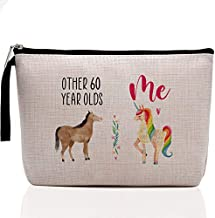 Funny 60th Birthday Gifts for Women-Other 60 Year Olds Horse, Me Unicorn-, 60 Years Old Makeup Bag for Her, Friend, Mom, Sister, Wife, Aunt, Coworker Boss Grandma