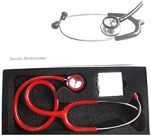 Mnjin Premium Professional Stethoskop, Medizintechnik Zubehör für klinische Analysegeräte Edelstahl Classic Cardiology Dual Head Stethoskop, rot