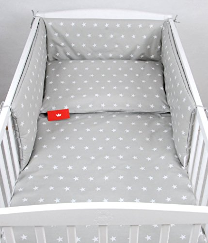 BABYLUX Bettwäsche Bezug 2 Tlg. 100 x 135 cm Kinderbettwäsche Bettwäsche Bettset Babybettwäsche (91. Sterne Grau)