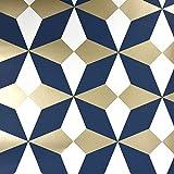 Fine Décor FD42548 Nova Geo Azul marino y dorado