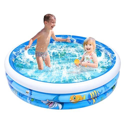 STOBOK Kiddie Inflatable Swimming Pools,147CM X 37CM Full-Sized 3 Rings...
