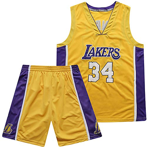 ANMQQ NBA Basketball Jersey,Los Angeles Lakers O'neal NO.34 Conjuntos Bordados Malla,Top Competición Deportiva Aire Libre+Traje Corto,New Fabric Sin Mangas Swingman Jersey,Amarillo,XS