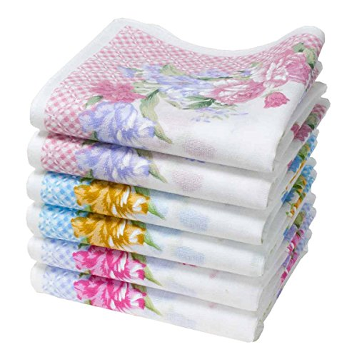 Merrysquare - Bedruckte Stofftaschentücher für Frauen - Größe 40cm x 40cm - 6 Stück - 100% Baumwolle (Agnes)