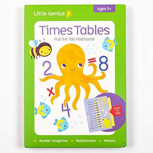 LAKE PRESS Little Genius Pull the Tab: Times Tables, Childrens Educational Flash Cards