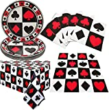 Casino Poker Game Themed Birthday Party Supplies and Decorations -Plastic Table Cover,Plates,Napkins for Arts & Crafts, Poker Party Supplies for Las Vegas Theme Casino Party Bundle 16 Guest