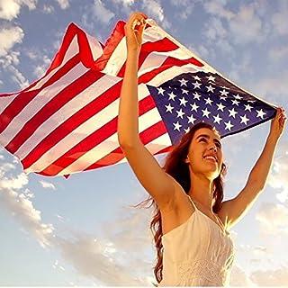 عروض Anley Fly Breeze 3x5 Foot American US Flag - Vivid Color and UV Fade Resistant - Canvas Header and Double Stitched - USA Flags Polyester with Brass Grommets 3 X 5 Ft